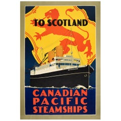Original Vintage Cruise Travel Poster Scotland Canadian Pacific Steamships Lion