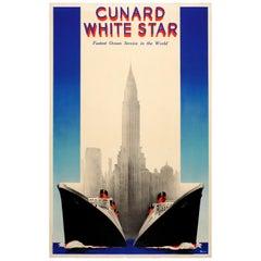 Original Vintage Cunard White Star Ocean Liner Poster Queen Mary Queen Elizabeth