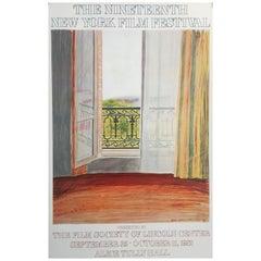 Original Vintage David Hockney Exhibition Poster 'New York Film Festival', 1981