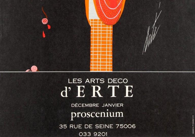 Late 20th Century Original Vintage Decorative Art Deco Style Poster for Erte Exhibition Proscenium For Sale