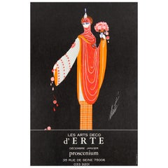 Original Vintage Decorative Art Deco Style Poster for Erte Exhibition Proscenium