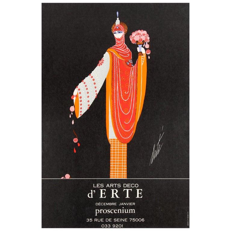Original Vintage Decorative Art Deco Style Poster for Erte Exhibition Proscenium For Sale