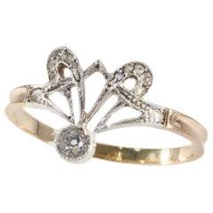 Original Vintage Diamond Art Nouveau Engagement Ring, 1900s