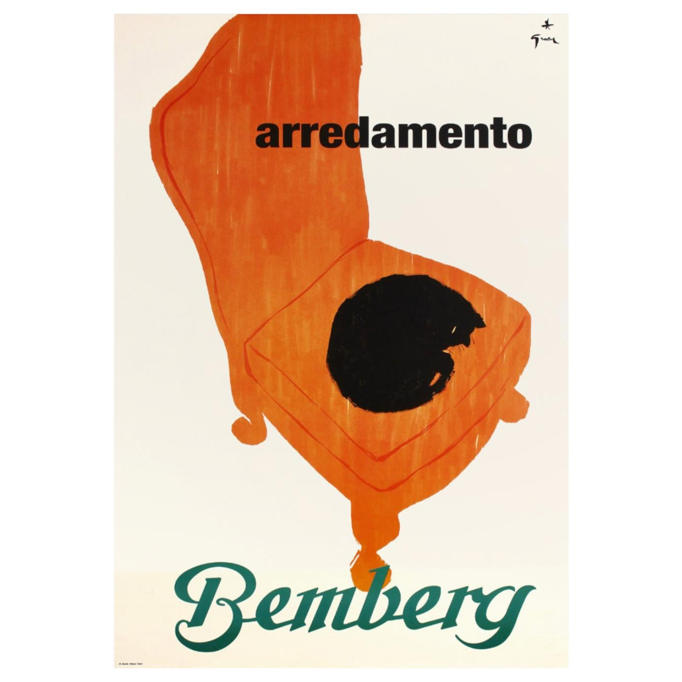 Original Vintage Double Sheet Poster, 'Bemberg Arredamento Cat' by Rene Gruau