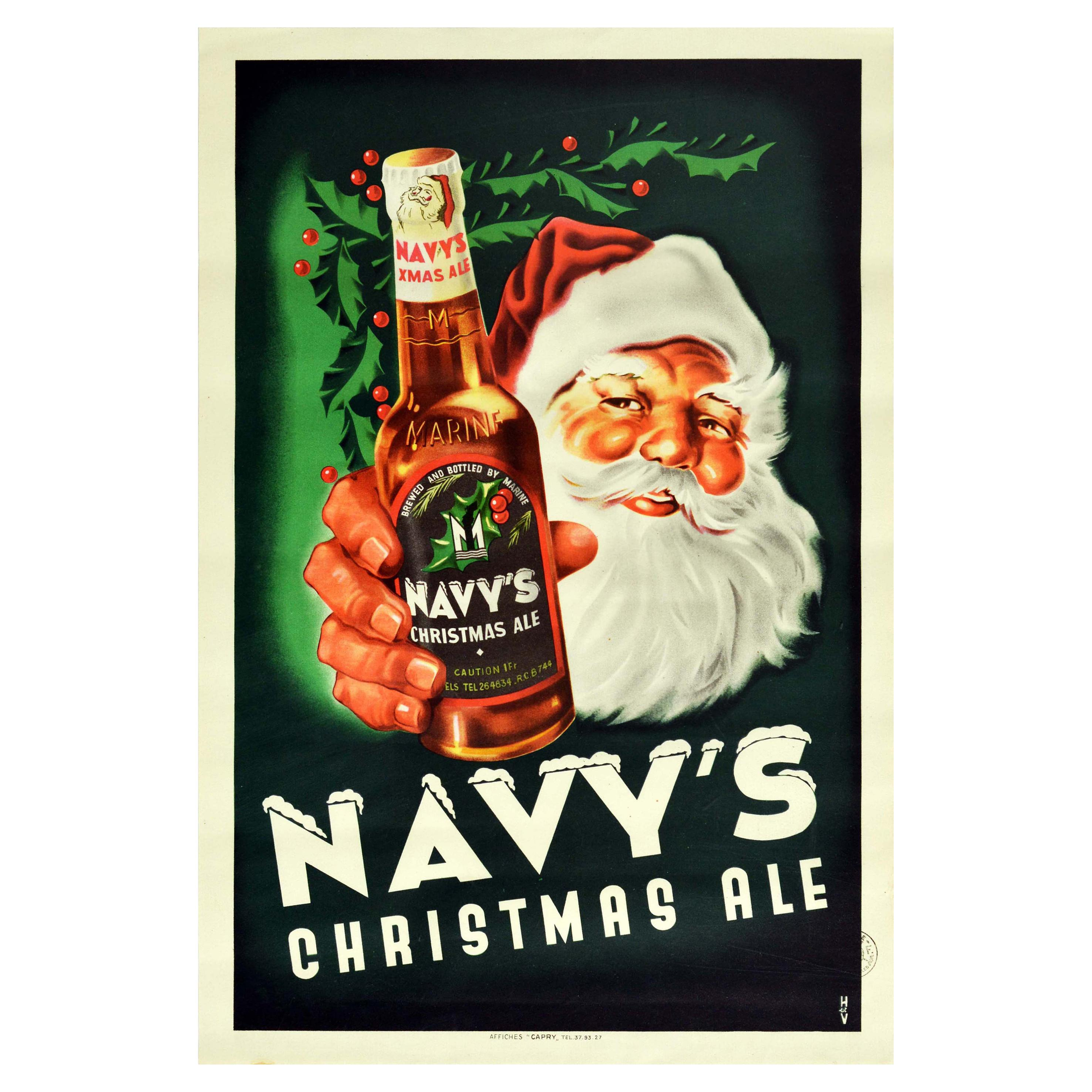 Original Vintage Drink Advertising Poster Navy's Christmas Ale Santa Claus Beer