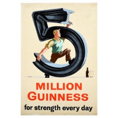 Original Vintage Drink Poster 5 Million Guinness For Strength Every Day Steel