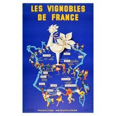 Original Vintage Drink Poster French Wine Les Vignobles De France Vineyards Map