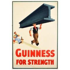 Original Vintage Drink Poster Guinness For Strength Steel Beam Design Stout Beer