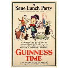 Original Vintage Drink Poster Guinness Time Alice In Wonderland Sane Lunch Party