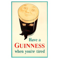 Original Vintage Drink Poster Have A Guinness When You're Tired Smiling Pint Man