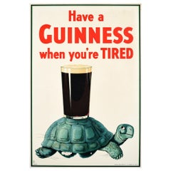 Original Vintage Drink Poster Have A Guinness When You're Tired Turtle Beer Pint