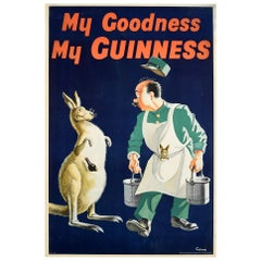 Original Vintage Drink Poster My Goodness My Guinness Kangaroo Beer Bottle Pouch