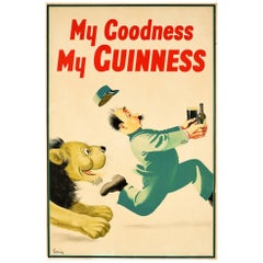Original Vintage Drink Poster My Goodness My Guinness Lion Zoo Keeper Fun Design