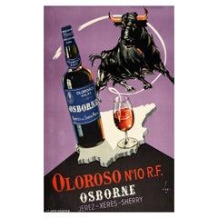 Original Vintage Drink Poster Osborne Jerez Xeres Sherry Spain Map Wine Bull Art