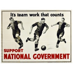 Original Vintage Election Poster Support National Government Team Work Football