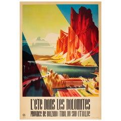 Original Vintage Enit Summer Travel Poster for the Dolomites Bolzano Tyrol Italy