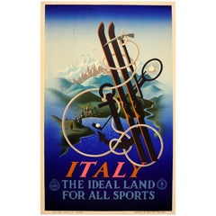 Original Vintage ENIT Travel Poster By Cassandre Italy Ideal Land For All Sports