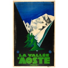 Original Vintage ENIT Travel Poster For The Aosta Valley Italy La Vallee d'Aoste