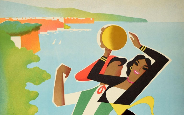 Original vintage ENIT travel poster for Sorrento - a popular tourist destination overlooking the Bay of Naples in Southern Italy. Colourful artwork by the renowned Italian graphic artist Mario Puppo (1913-1989) showing a lady and man dressed in