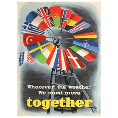Original Vintage ERP Marshall Plan Poster Whatever the Weather - Europe Together
