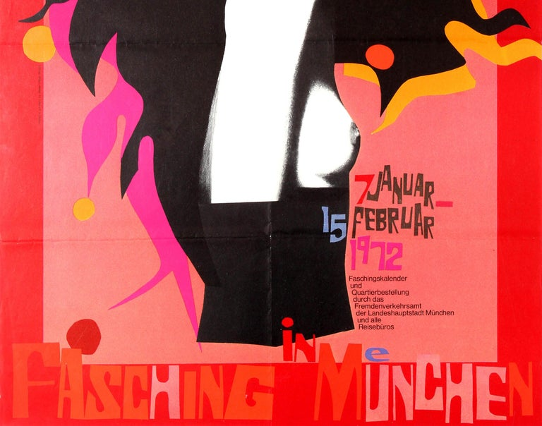 Original Vintage Event Poster for the Munich Lent Carnival - Fasching in Munchen In Good Condition For Sale In London, GB