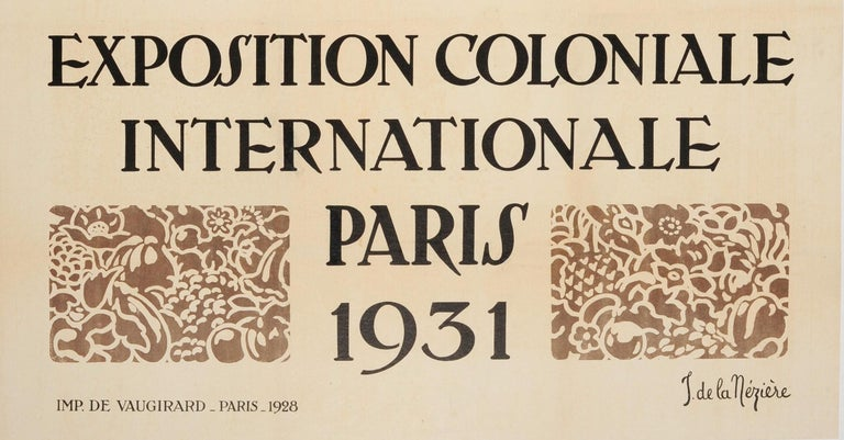 French Original Vintage Exhibition Poster 1931 International Colonial Exposition Paris For Sale