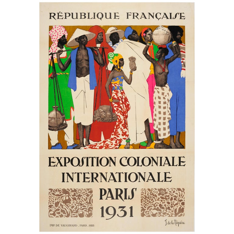 Original Vintage Exhibition Poster 1931 International Colonial Exposition Paris For Sale