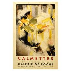Original Vintage Exhibition Poster Abstract Artist JM Calmettes Galerie De Poche