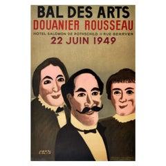 Original Vintage Exhibition Poster Bal Des Arts Douanier Rousseau Naive Artist
