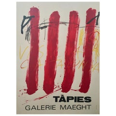 Original Vintage Exhibition Poster by Antoni Tapies 'Visca Catalunya', 1981