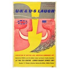 Original Vintage Exhibition Poster UK & US Laugh British & American Humorous Art