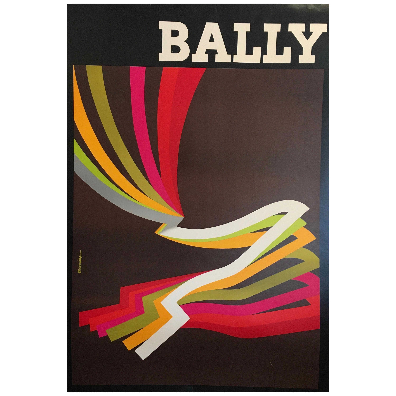 Original Vintage Fashion Advertising Poster, Bally Kinetic Man, 1981 by AURIAC