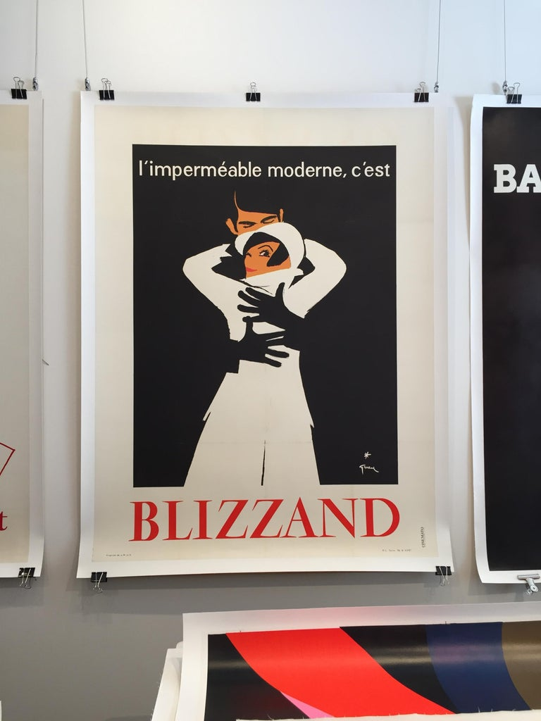 Extremely rare poster by fashion illustrator, Rene Gruau for 'Blizzand' raincoats. 
