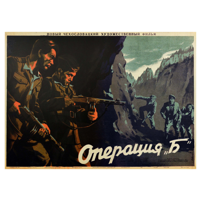 Original Vintage Film Poster Action B Czechoslovakian WWII Movie Insurgent Army