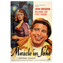 Original Vintage Film Poster For Miracle In Soho London Romantic Drama Movie Art