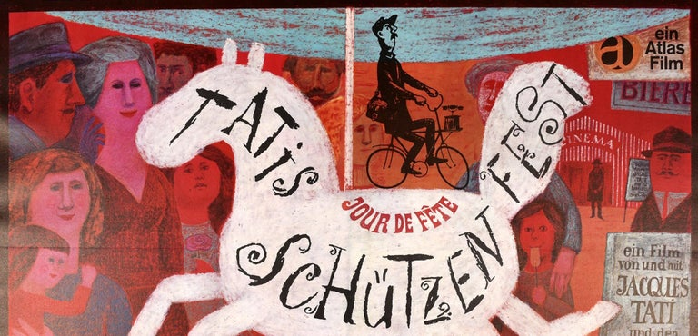Original vintage movie poster for the German re-release of the 1949 Classic French comedy film Tatis Schutzenfest / Jour de Fete / The Big Day directed by Jacques Tati (his feature film Directional debut) and starring Jacques Tati in the main