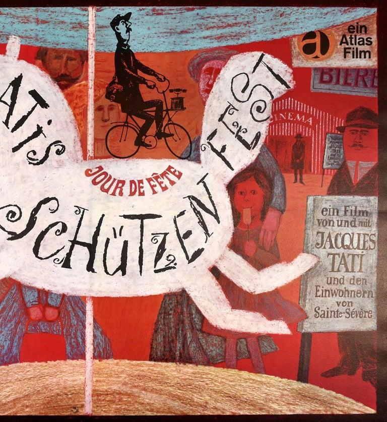 Original Vintage Film Poster Jacques Tati Jour De Fete Schutzenfest Fun Fair Art In Good Condition For Sale In London, GB