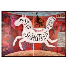 Original Vintage Film Poster Jacques Tati Jour De Fete Schutzenfest Fun Fair Art