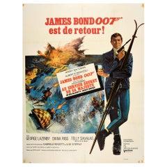 Original Vintage Film Poster James Bond On Her Majesty's Secret Service 007 Skis