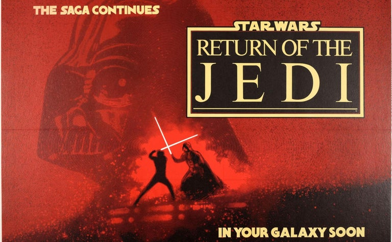 Original vintage teaser movie poster for the Classic film by George Lucas - Star Wars: Episode VI The Return of the Jedi - directed by Richard Marquand and starring Mark Hamill as Luke Skywalker, Harrison Ford as Han Solo, Peter Mayhew as Chewbacca,