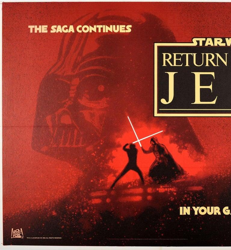 British Original Vintage Film Poster Star Wars Return Of The Jedi Darth Vader Skywalker For Sale
