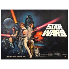 Original Vintage Film Poster Star Wars UK Quad First Release Pre Oscars Design
