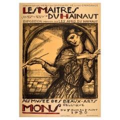 Original Vintage Fine Art Exhibition Poster Les Maitres Du Hainaut Mons Belgium