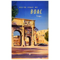 Original Vintage Fly To Italy by BOAC Travel Poster Ft. Rome Colosseum And Arch