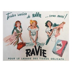 Original Vintage French Advertisement Poster Ravi Washing Powder Pierre Brenot