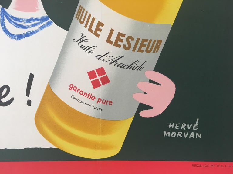 Mid-Century Modern Original Vintage French Advertising Poster, 'Huile Lesieur' by Herve Morvan For Sale