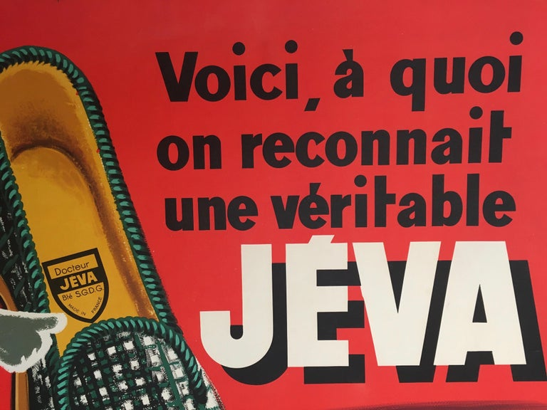 International Style Original Vintage French Advertising Poster, 'JEVA' Slippers by Francis Wibeaux For Sale