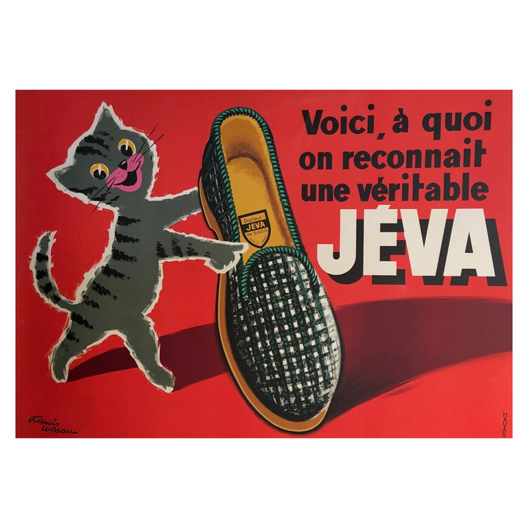 Original Vintage French Advertising Poster, 'JEVA' Slippers by Francis Wibeaux For Sale