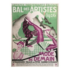 Original Vintage French Art Deco Artistes Independants D'alsace Bal Des Artistes