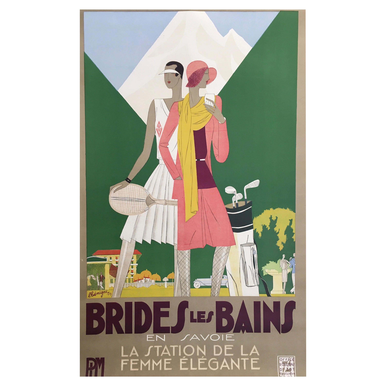Original Vintage French Art Deco Brides Poster 'Les Bains' by Leon Benigni 1929